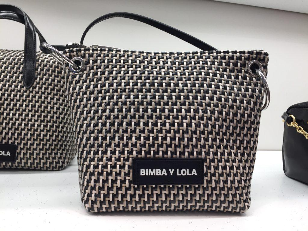 Bimba y Lola 白黒革編み柄バッグ